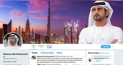 نائب حاكم دبي يطلق حسابه الرسمي على موقع تويتر