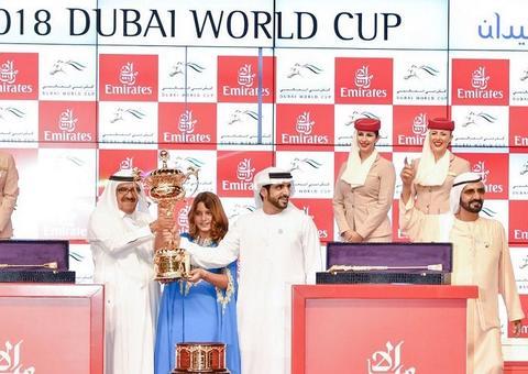 ثندر سنو لجودولفين يفوز بجائزة كأس دبي العالمي للخيل 2018