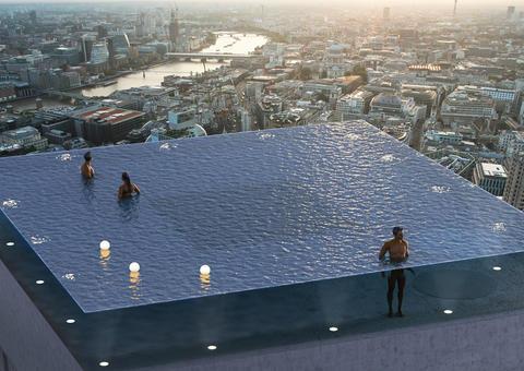 بناء أول حمام سباحة شفاف بزاوية 360 درجة بالعالم في لندن