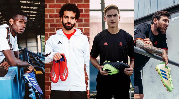 أحذية رياضية, أديداس, ميسي, محمد صلاح, بول بوغبا, دي خيا, ديبالا, كرة القدم
